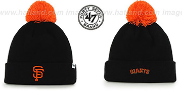 SF Giants POMPOM CUFF Black Knit Beanie Hat by Twins 47 Brand