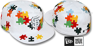 SF Giants 'PUZZLE' White Fitted Hat by New Era