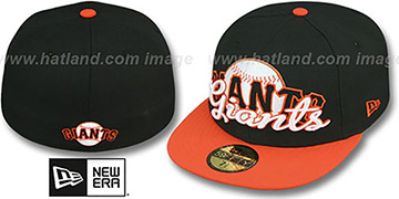 SF Giants SCRIPT-PUNCH Black-Orange Fitted Hat by New Era