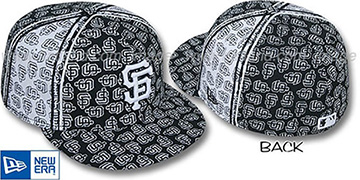 SF Giants SF-PJs FLOCKING PINWHEEL Black-White Fitted Hat by New Era