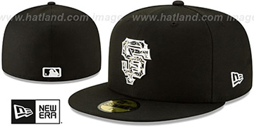SF Giants 'SILVER SHATTERED METAL-BADGE' Black Fitted Hat by New Era