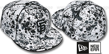 SF Giants 'SPLATTER' White-Black Fitted Hat by New Era