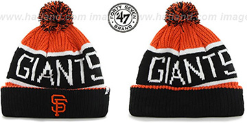 SF Giants THE-CALGARY Black-Orange Knit Beanie Hat by Twins 47 Brand