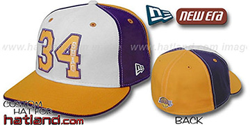 Shaq 'PINWHEEL' White-Purple-Gold Fitted Hat by New Era
