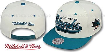 Sharks '2T TAILSWEEPER SNAPBACK' White-Teal Hat by Mitchell & Ness