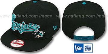 Sharks 'BLOCK-SCRIPT SNAPBACK' Black Hat by New Era