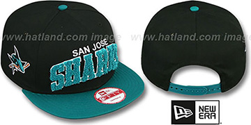 Sharks CHENILLE-ARCH SNAPBACK Black-Teal Hat by New Era