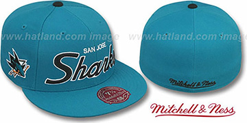 Sharks CLASSIC-SCRIPT Teal Fitted Hat by Mitchell & Ness
