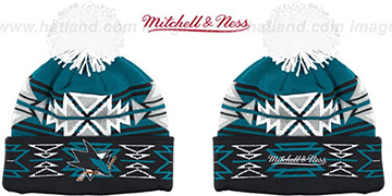 Sharks GEOTECH Knit Beanie by Mitchell and Ness