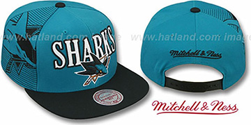 Sharks 'LASER-STITCH SNAPBACK' Teal-Black Hat by Mitchell and Ness