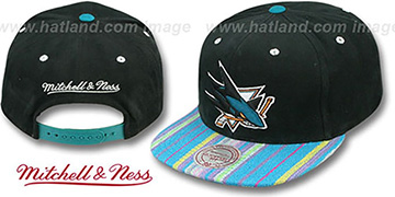 Sharks NATIVE-STRIPE SNAPBACK Black Hat by Mitchell and Ness