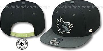 Sharks NIGHT-MOVE SNAPBACK Adjustable Hat by Twins 47 Brand
