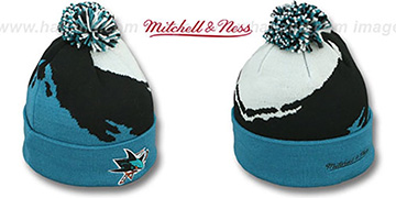Sharks 'PAINTBRUSH BEANIE' by Mitchell and Ness