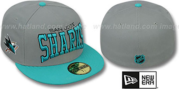 Sharks 'PRO-ARCH' Grey-Teal Fitted Hat by New Era