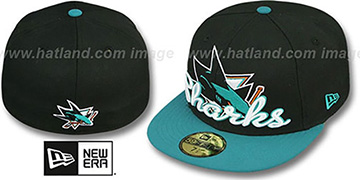 Sharks SCRIPT-PUNCH Black-Teal Fitted Hat by New Era