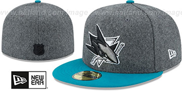 Sharks 'SHADER MELT-2' Grey-Teal Fitted Hat by New Era