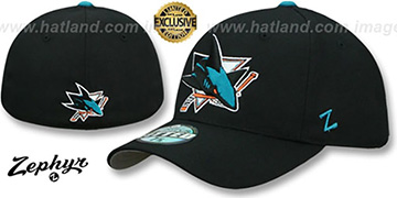 Sharks SHOOTOUT Black Fitted Hat by Zephyr
