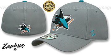 Sharks SHOOTOUT Grey Fitted Hat by Zephyr
