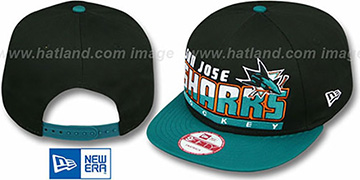 Sharks 'SLICE-N-DICE SNAPBACK' Black-Teal Hat by New Era