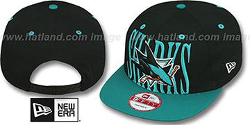 Sharks STEP-ABOVE SNAPBACK Black-Teal Hat by New Era