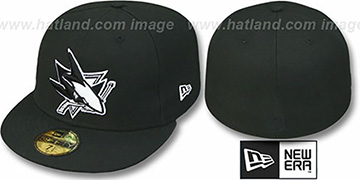 Sharks 'TEAM-BASIC' Black-White Fitted Hat by New Era