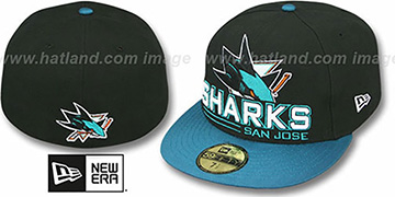 Sharks 'TECH MARK' Black-Teal Fitted Hat by New Era