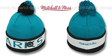 Sharks THE-BUTTON Knit Beanie Hat by Michell & Ness