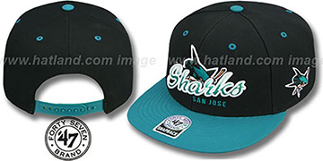 Sharks TRICKY LOU SNAPBACK Black-Teal Hat by Twins 47 Brand