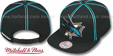 Sharks XL-LOGO SOUTACHE SNAPBACK Black Adjustable Hat by Mitchell and Ness
