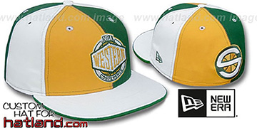 Sonics 'CONFERENCE PINWHEEL' Gold-Green-White Fitted Hat