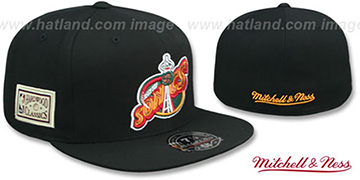 Sonics HWC SIDE-PATCH Black Fitted Hat by Mitchell and Ness