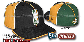 Sonics LOGOMAN-3 Black-Gold-Green Fitted Hat by New Era