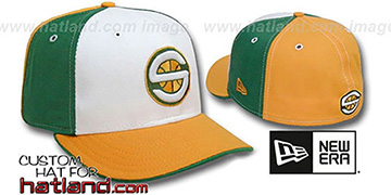 Sonics 'PINWHEEL' White-Green-Gold Fitted Hat