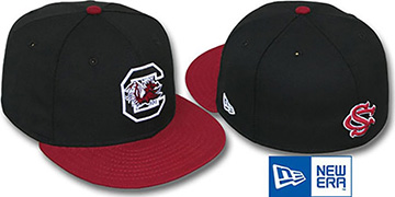 South Carolina '2T NCAA-BASIC' Black-Burgundy Fitted Hat by New Era