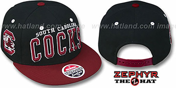South Carolina '2T SUPER-ARCH SNAPBACK' Black-Burgundy Hat by Zephyr