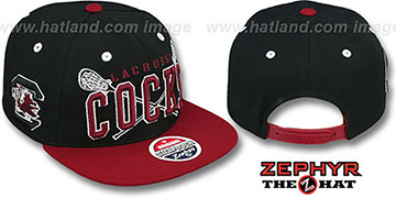 South Carolina 'LACROSSE SUPER-ARCH SNAPBACK' Black-Burgundy Hat by Zephyr