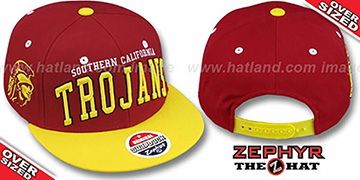Southern Cal '2T SUPER-ARCH OVER-SIZED SNAPBACK' Burgundy-Gold Hat by Zephyr