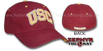 Southern Cal USC 'DH' Fitted Hat by Zephyr - burgundy(red)