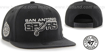 Spurs 'ALT SURE-SHOT SNAPBACK' Black Hat by Twins 47 Brand