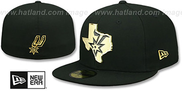 Spurs GOLD STATED METAL-BADGE Black Fitted Hat by New Era