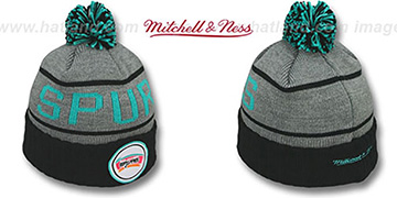 Spurs 'HIGH-5 CIRCLE BEANIE' Grey-Black by Mitchell and Ness