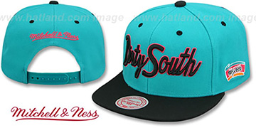 Spurs HWC 'CITY NICKNAME SCRIPT SNAPBACK' Teal-Black Hat by Mitchell and Ness
