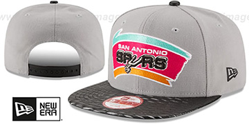 Spurs HWC LEATHER-RIP SNAPBACK Grey-Black Hat by New Era