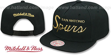 Spurs LIQUID METALLIC SCRIPT SNAPBACK Black-Gold Hat by Mitchell and Ness