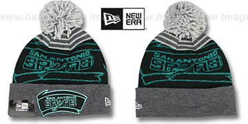 Spurs LOGO WHIZ Black-Grey Knit Beanie Hat by New Era