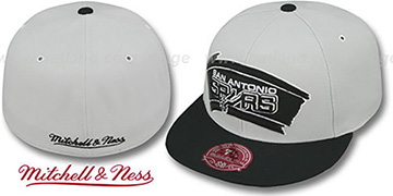 Spurs 'MONOCHROME XL-LOGO' Grey-Black Fitted Hat by Mitchell and Ness