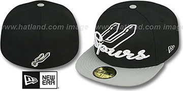 Spurs 'SCRIPT-PUNCH' Black-Grey Fitted Hat by New Era