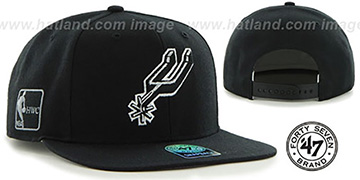 Spurs SURE-SHOT SNAPBACK Black Hat by Twins 47 Brand