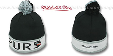 Spurs 'THE-BUTTON' Knit Beanie Hat by Michell & Ness