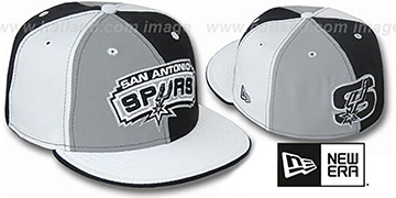 Spurs TWO BIG PINWHEEL Grey-Black-White Fitted Hat